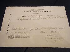 RICEVUTA DI ABBONAMENTO AL MONITORE TOSCANO 1851 FIRENZE GRANDUCATO TOSCANA