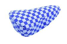 BLUE & WHITE CHEQUERED BIKE SEAT COVER RETRO SUIT BMX, MTB OR ANY CYCLE SADDLE
