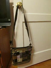 Coach Leather Gallery Purple Brown Patchwork Cross-body Shoulder Bag Purse