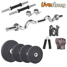 Livestrong 20 Kg Home Gym Set With 3 Ft Curl Rod + Accessories