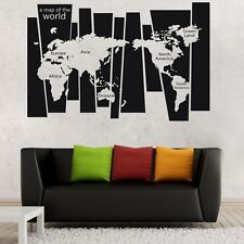 World Map Wall Art Stickers Vinyl Decal Home Decor Removable Mural Free Postage