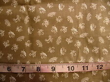 2/3 yd Polished Cotton Fabric Golden Taupe with Cream Fishing Lures