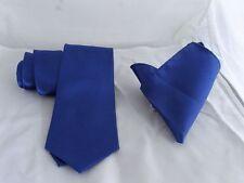 """Classic Royal Blue Necktie & Hanky Set-Mens Ties 3.5""""=9cm Width P&P2UK 1st Class"""