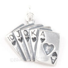 ACE of HEARTS Royal Flush Poker Charm Cards Pendant 925 Sterling Silver Jewelry