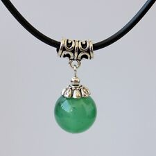 Women's Jewellery Green Jade Bead Tibetan Silver Pendant Charms chocker Necklace