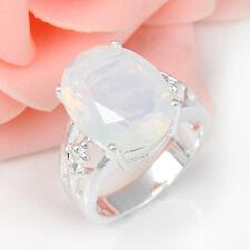 SILBER Ring Opal Silberring Mondstein rhodiniert Silberschmuck Katzenauge Damen