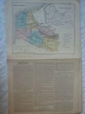 carte scolaire départementale (fin XIX ?) aquarellée / notice - PAS DE CALAIS