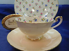 SHELLEY FLORAL CHINTZ   BOSTON  FOOTED CUP,  SAUCER & PLATE  # 14219 GOLD TRIM