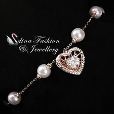 18K Rose Gold Plated Simulated Pearl & Diamond Exquisite Heart Pendant Bracelet