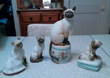 Lot of 4 siamese cat musical figurines by Mann. Made in japan.