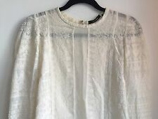 Isabel Marant Ivory White Embroidered Sheer Lace Top Blouse Sz 40