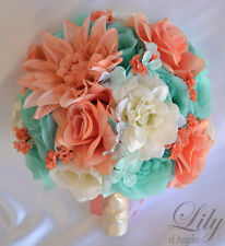 17 Piece Package Silk Flower Wedding Bridal Bouquets CORAL ROBIN'S EGG BLUE SPA