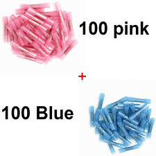 200 pcs Heat Shrink Insulated Butt Crimp Terminals Wire Connectors ( Pink+ blue)