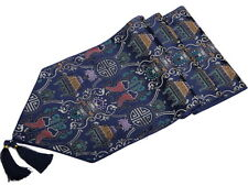 """Blue Chinese Silk Brocade Table Runner with Tassels Gift Home Decor 90""""L"""