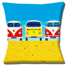"Vintage Retro 60's VW Campervans Beach Holiday Multi 16"" Pillow Cushion Cover"