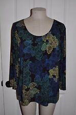 CHICO'S sz 2 (12/14) Stencil Floral Slinky Knit 3/4 Sleeve Traveler Blouse Top