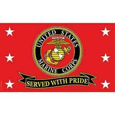 US Marine Corps Served with Pride Super Poly Full Sized Flag 3'x5' USMC