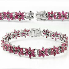GENUINE HEATED ASIA PINK RED RUBY MARQUISE STERLING 925 SILVER FLOWER BRACELET 8