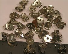 16pr Vtg Clip On Earrings Silver Plated 12mm Cup Base Jewelry Findings Craft lot