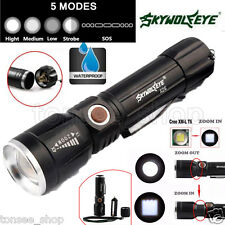 5000 Lumen 5 Modes Zoomable CREE XM-L T6 LED 18650 Battery Flashlight Focus Lamp