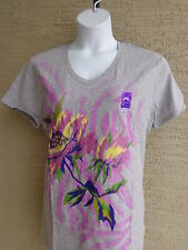 NWT Just My Size Graphic V Neck Tee Shirt Gray with Glitzy Large Flowers 2X