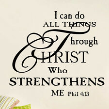 I Can Do All Things Through Christ Quote Vinyl Wall Stickers Decor Decal Words #