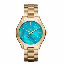 Michael Kors Slim Runway Quartz Aqua Dial Gold-tone Laides Watch MK3492