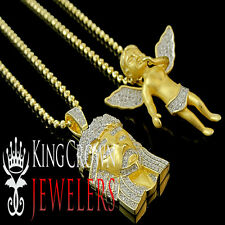 Yellow Gold Over Silver Simulated Diamond Angel and Jesus Pendant & Chain Combo