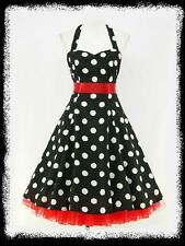 dress190 CHIFFON BLACK POLKA DOT 50's PINUP ROCKABILLY SWING PROM DRESS 14-16