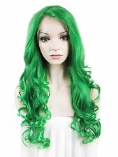 Imstyle Green Cosplay Wig Extra Long Wavy Heat Resistant Lace Front Synthetic