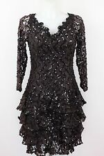 Brown Drop Waist Vintage Dress W/Threaded Sequin & Tiered Ruffle Detail Size S