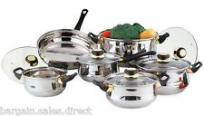 12 PIECE STAINLESS STEEL COOKWARE SAUCEPAN FRYING PAN POT SET INC GLASS LIDS