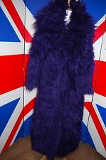Purple Mongolian Shaggy Monster Full Length Faux Fur Coat Goth VTG 70's 38 12 14