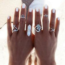6pcs Women Stack Plain Above Midi Finger Tip Knuckle Ring Silver Boho Rings Set