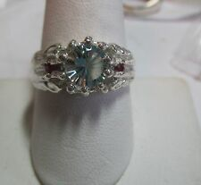 MENS DISTINCTIVE 1.2CT PHRENITE GREEN AMETHYST WITH RUBIES STERLING  FINE RING