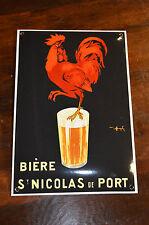PLAQUE EN TÔLE EMAILLEE bière ST NICOLAS DE PORT