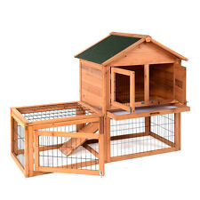 "51""Deluxe Wooden Chicken Coop Hen House Poultry Cage Hutch Built In Run"