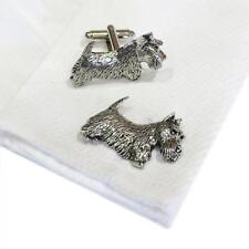 Silver Pewter Scottish Terrier Cufflinks Handmade in England Dog Cuff Links New