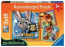 Ravensburger 09404 Disney's Zootropolis Jigsaw Puzzle 3x49 Pieces 5+ Years - New