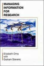 Managing Information for Research Elizabeth Orna Very Good Book