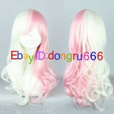 Usami Monomi Maid Pink White Wavy Lolita Cosplay Party Wigs