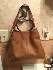 New COACH Phoebe Brown Shoulder Saddle Bag In Pebble Leather 35723