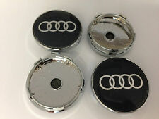 Set of 4 AUDI Face 60mm Clip 56mm ALLOY WHEELS CENTER CAPS SET Black