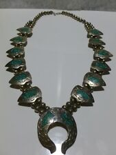 ANTIQUE ESTATE STERLING SILVER TURQUOISE INLAY ARROWHEAD SQUASH BLOSSOM NECKLACE