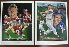 Ted Williams & Joe Montana Dual Sided Lithograph by Angelo Marino