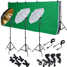Photo Studio Photography Kit W/3 Light Bulb Lighting Muslin 3 Backdrop Stand Set