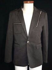 EXC Designer Styling Mens Charcoal Gray Knit THELEES Blazer Jacket Large Pockets