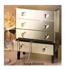 4 DRAWER MIRRORED JEWELLERY BOX BEVELLED GLASS STORAGE UNIT CHEST 4TIER GIFT BOX