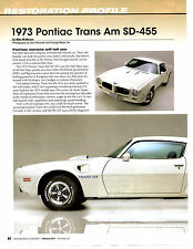 1973 PONTIAC TRANS AM SD-455 ~ GREAT 6-PAGE RESTORATION ARTICLE / AD