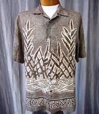 REUNION  100% Pure Silk Men's Short Sleeve Casual Shirt Size M, Beige